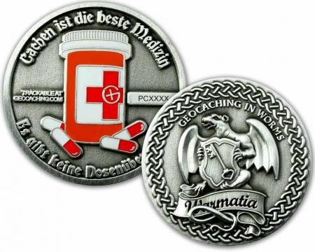Cachen ist die beste Medizin Geocoin Antik Silber RE