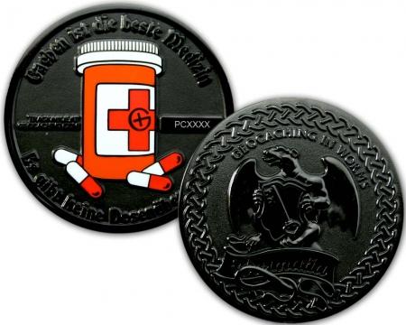 Cachen ist die beste Medizin Geocoin Black Nickel XLE 75