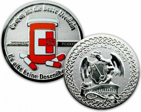 Cachen ist die beste Medizin Geocoin Poliertes Silber XLE 75