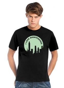 Geocaching T-Shirt I love Nightcaches schwarz