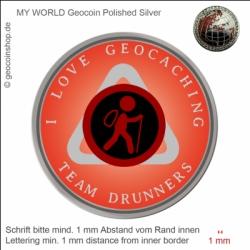 I Love Geocaching Geocoin - Vorlage für deinen persönlichen Geoccoin