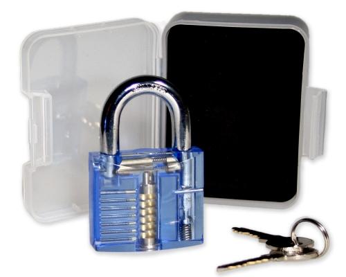 Lockpicking Übunggschloss blau / transparent #1