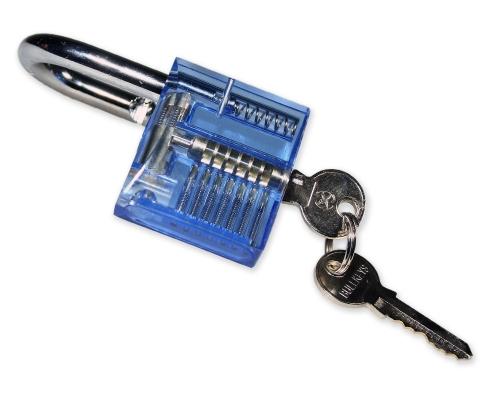 Lockpicking Übunggschloss blau / transparent #2