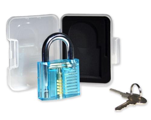 Lockpicking Übunggschloss türkis / transparent #1