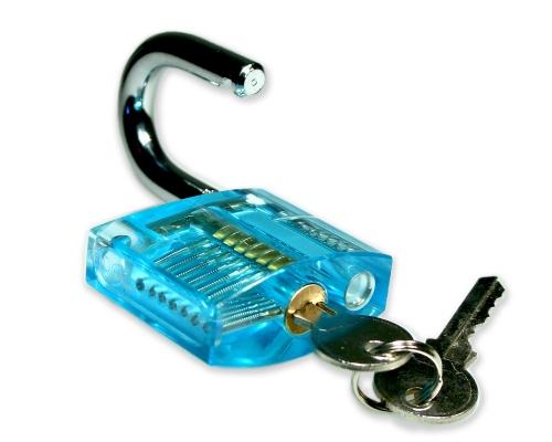 Lockpicking Übunggschloss türkis / transparent #2