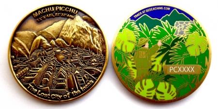 Machu Picchu Geocoin Antik Gold RE
