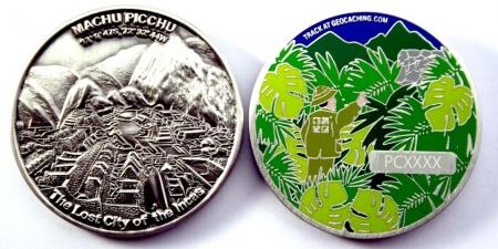 Machu Picchu Geocoin Antik Silber RE