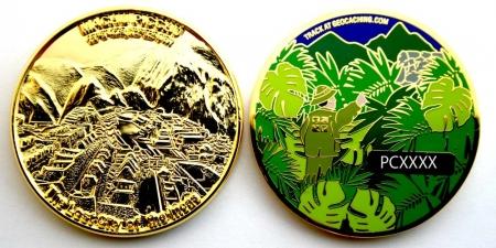 Machu Picchu Geocoin Poliertes Gold XLE