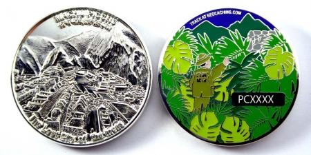 Machu Picchu Geocoin Poliertes Silber XLE