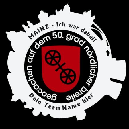 Geocaching T-Shirt GIGA Mainz Gutenberg 2015 schwarz