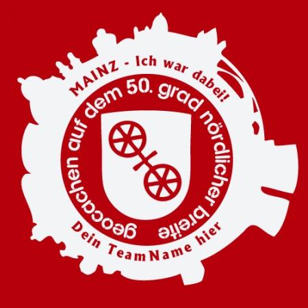 Geocaching T-Shirt GIGA Mainz Gutenberg 2015 rot