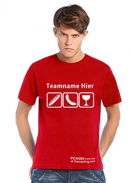 Geocaching T-Shirt Weck Worscht Woi rot trackbar