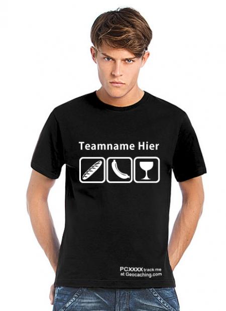 Geocaching T-Shirt Weck Worscht Woi schwarz trackbar