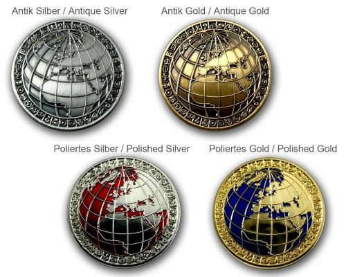 Geocoin My World Geocoinshop.de CoinPrint Technology Metallversionen