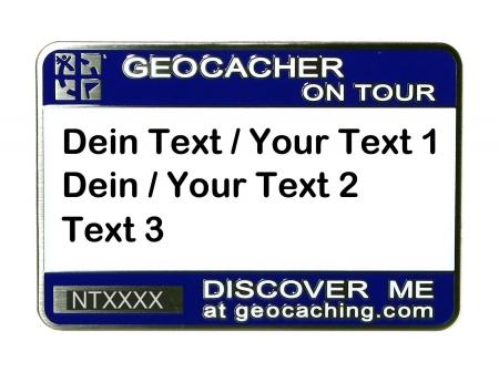 Geocaching Namensschild trackbar mit Bedruckung