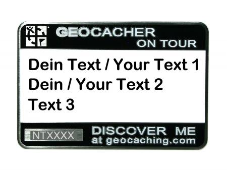 Trackbares Geocaching Namensschild schwarz mit deinem Text