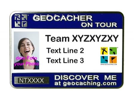 Geocaching Namensschild trackbar mit Foto / Logo