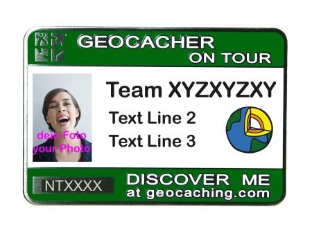 Geocaching Namensschild trackbar grün / Earthcache Logo