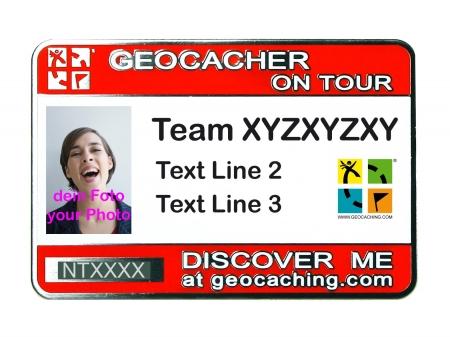 Geocaching Namensschild trackbar rot mit Foto / Geocaching.com Logo