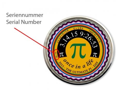 Pi- Day Geocoin Poliertes Silber Seriennummer