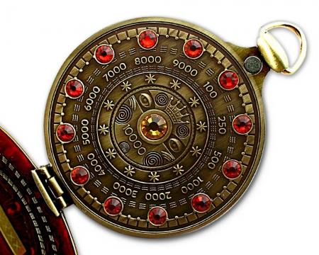 Pocket Cache Counter Geocoin Antik Gold innen komplett besetzt