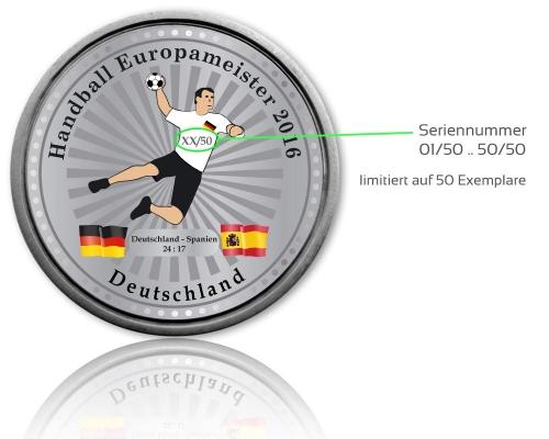 Handball Europameister Geocoin Seriennummer Silber