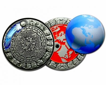 Weltuntergang Geocoin Antik Silber offen