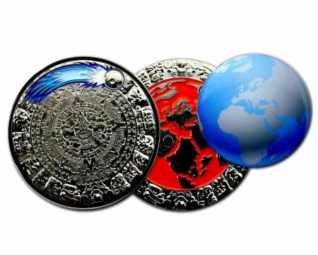 Weltuntergang Geocoin Poliertes Silber offen