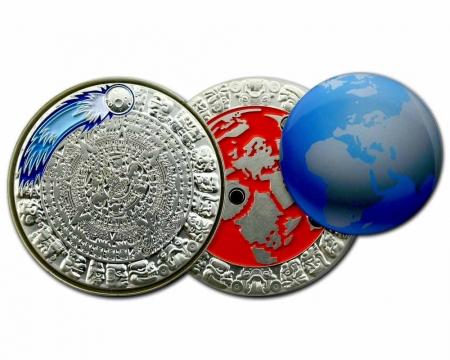 Weltuntergang Geocoin Satin Silber offen