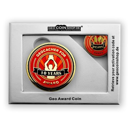 Geo Award Geocoin - 10 Jahre Geschenkbox Schatulle