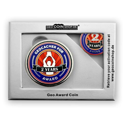 Geo Award Geocoin - 2 Jahre Geschenkbox Schatulle