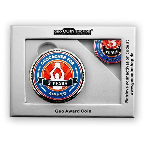Geo Award Geocoin - 3 Jahre Geschenkbox Schatulle