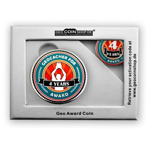 Geo Award Geocoin - 4 Jahre Geschenkbox Schatulle