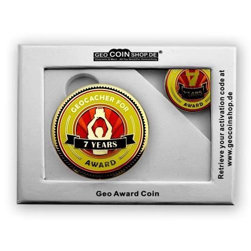 Geo Award Geocoin - 7 Jahre Geschenkbox Schatulle