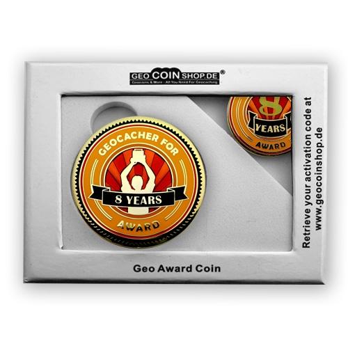 Geo Award Geocoin - 8 Jahre Geschenkbox Schatulle
