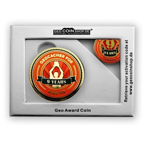 Geo Award Geocoin - 9 Jahre Geschenkbox Schatulle
